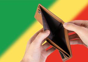 Empty Wallet with Flag of Republic of the Congo. Recession and Financial Crisis to come with more debt and federal budget deficit?