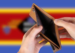 Empty Wallet with Flag of Swaziland. Recession and Financial Crisis to come with more debt and federal budget deficit?