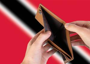 Empty Wallet with Flag of Trinidad and Tobago. Recession and Financial Crisis to come with more debt and federal budget deficit?