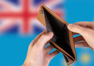 Empty Wallet with Flag of Tuvalu. Recession and Financial Crisis to come with more debt and federal budget deficit?