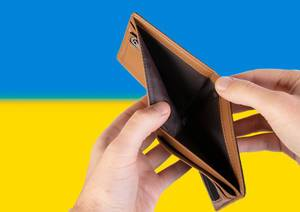 Empty Wallet with Flag of Ukraine. Recession and Financial Crisis to come with more debt and federal budget deficit?
