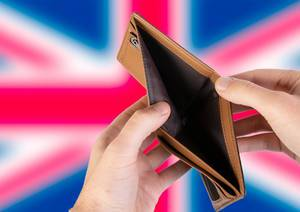 Empty Wallet with Flag of United Kingdom. Recession and Financial Crisis to come with more debt and federal budget deficit?