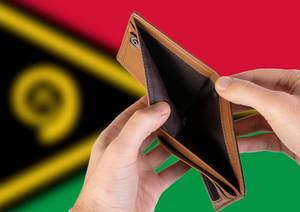 Empty Wallet with Flag of Vanuatu. Recession and Financial Crisis to come with more debt and federal budget deficit?