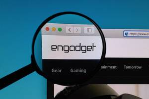 Engadget logo under magnifying glass