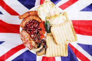 English breakfast in a plate, the Union Jack flag