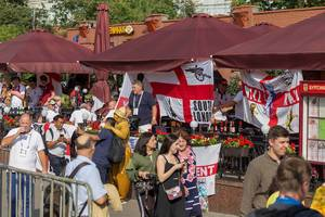English soccer fans occupying a pub in Moscow during World Cup