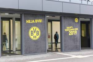 Entrance door of the AGM 2019 (annual general meeting) of German football club BVB in Dortmund