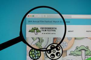 Environmental Film Festival logo on a computer screen with a magnifying glass