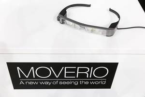 Epson Moverio Augmented Reality glasses on a white background