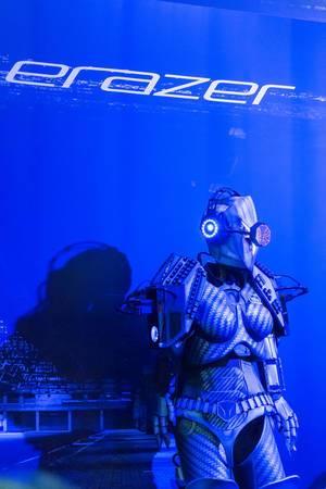 Erazer Girl costume at Medion booth at Gamescom 2018
