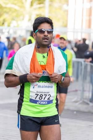 Erschöpfter Läufer - Frankfurt Marathon 2017
