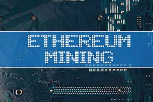 Ethereum Mining text over electronic circuit board background