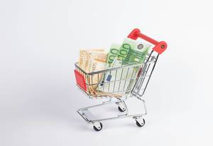Euro banknotes in shopping cart