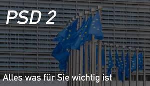 """Europaflaggen und Text zu neuen Richtlinien beim Online-Shopping """"PSD 2 - Alles was für Sie wichtig ist"""""""