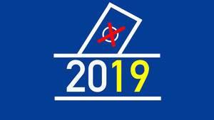 Europawahl 2019, mit Häkchen auf dem Wahlschein
