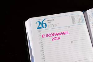 European Elections 2019 reminder in notebook