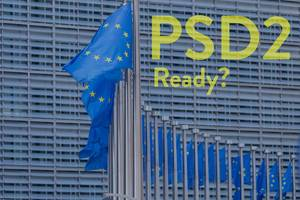 European flags with PSD2 Ready? text