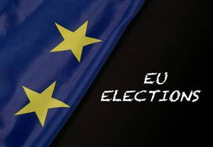 European Union flag with EU elections text