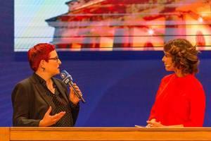 Eva-Maria Lemke und Simone Rafael im Gespräch für die ARD / RBB Live-Fernsehsendung Kontraste
