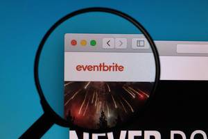 Eventbrite logo under magnifying glass