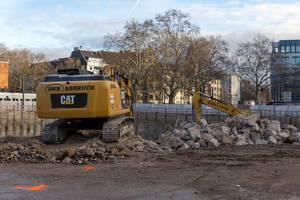 Excavator on construction site at Rudolfplatz in Cologne