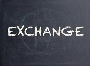 Exchange Schrift auf einer schwarzen Tafel