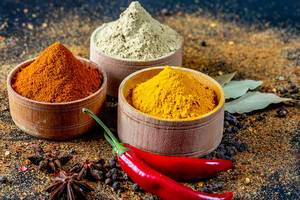 Exotic spices, curry, chili and star anise