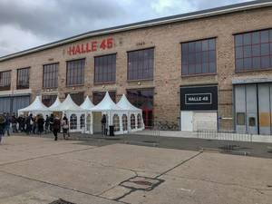 Exterior view Eventlocation Halle 45 in Mombach, Germany in old industrial building