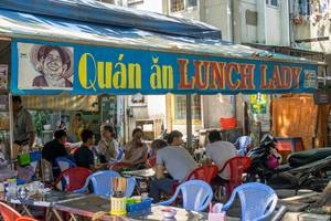 Famous Street Food Restaurant Lunch Lady in Ho Chi Minh City