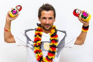 Fan with German Outfit and Russian babushka dolls