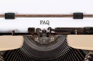 FAQ printed on an old typewriter