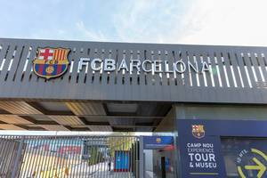FC Barcelona logo at the entrance of Europe