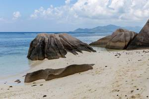 Felsenformation aus Granitstein hinter Palmen an der Küste zum Indischen Ozean des Anse Source d