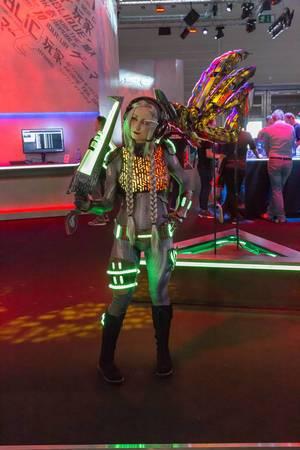 Female cosplayer at Asus ROG booth at Gamescom