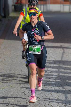 Female profi athlete Katrina Rye runs for silver for women at the Ironman 70.3 triathlon in Lahti, Finnland