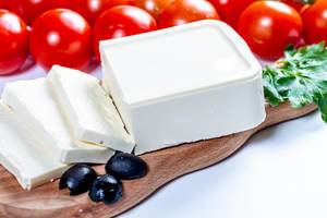 Feta cheese with black olives and cherry tomatoes  Flip 2019
