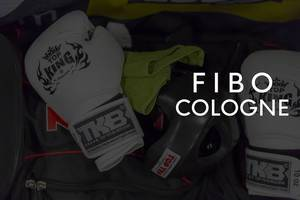 "Fight gear, helmet and boxing gloves to show at the German sport- and fitness fair with the picture title ""Fibo cologne"""