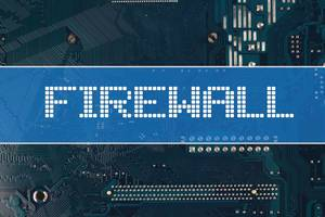 Firewall text over electronic circuit board background