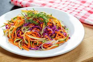 Firscher Salat mit Karotten, Gurken und Rotkraut auf einem weißen Teller