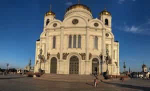 Fisheyeaufnahme der Christ-Erlöser-Kathedrale in Moskau