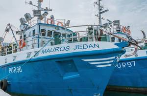 Fishing boat named Mauros Jedan in Rovinj, Croatia