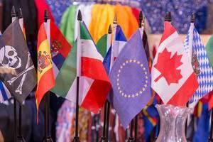 Flaggen der EU, verschiedenen Ländern und Bundesländern und Piratenfahne nebeneinander