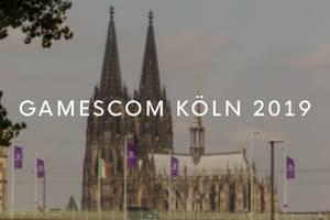Flaggen für die Videospiel- und Computerausstellung Gamescom in Köln 2019 wehen vor dem Kölner Dom