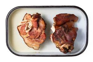 Flat lay above Baked delicious Pork Knuckle