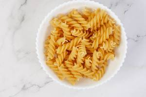 Flat lay above Crispy Pasta in the bowl