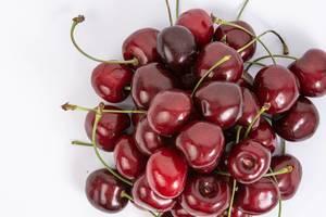 Flat lay above Fresh Cherries