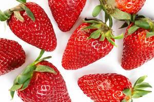 Flat lay above Fresh Red Strawberries (Flip 2019)