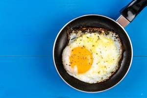 Flat lay above Fried Egg in the Frying Pan