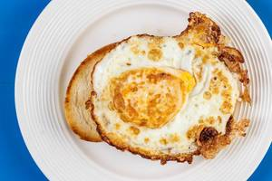 Flat Lay above Fried Egg on the Toasted Bread