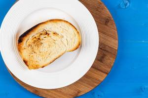 Flat Lay above Toasted Bread on the White Plate (Flip 2019)